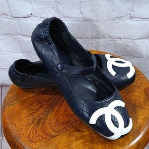 Chanel Blue Mary Jane Logo Quilted Leather Flats